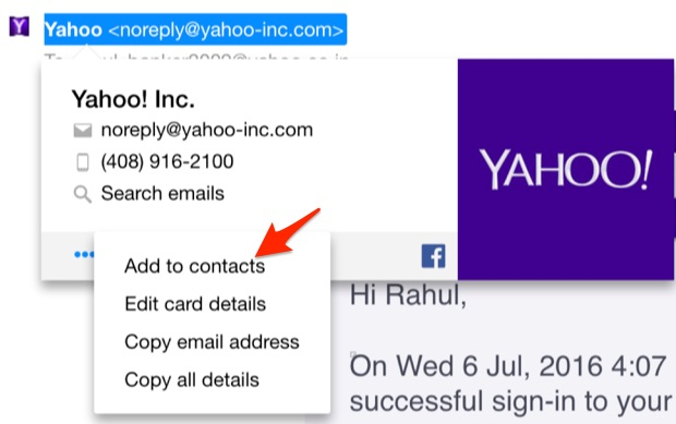 Add us to your contacts in Yahoo mail