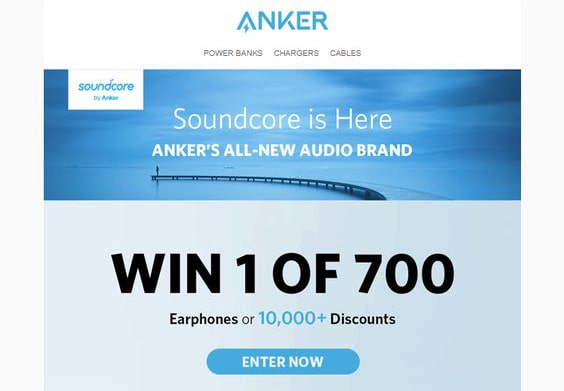Anker uses email as a way to promote their contest giveaway