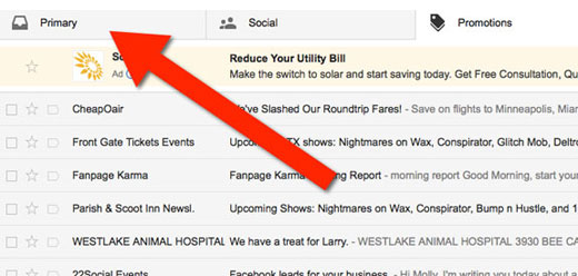To whitelist emails in Gmail, drag them into the Primary tab