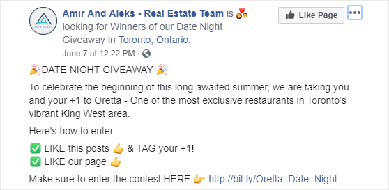 example of promoting a giveaway on facebook