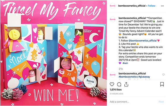Bomb Cosmetics Instagram giveaway