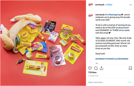 Carmex Instagram competition to gain followers