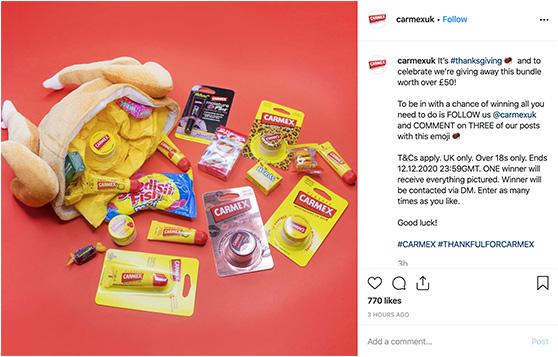 Carmex Instagram giveaway