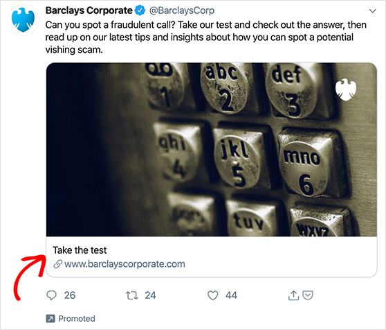 Example of barlays using twitter ads to drive conversions