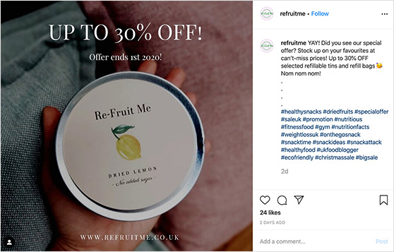 Offer discounts on Instagram to get more likes