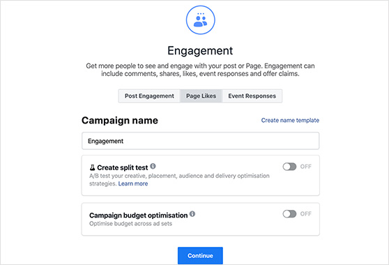 Facebook ads with engagement and page likes goal