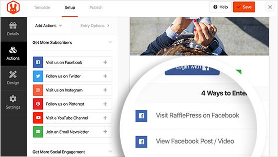 entry actions to grow facebook engagement