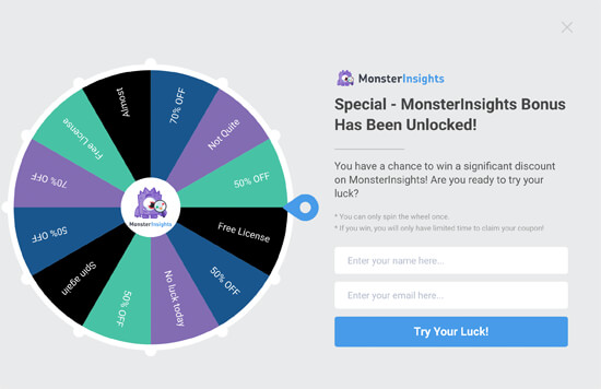 Spin the wheel gamified campaign example