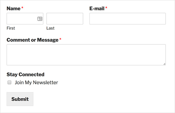 Contact form with a newsletter optin