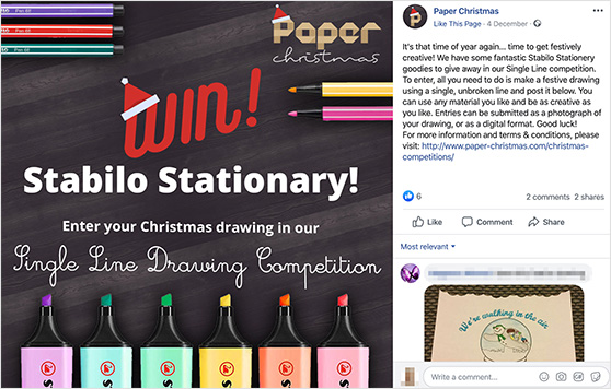 Paper Christmas Facebook giveaway