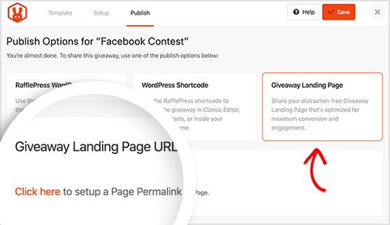 Publish as a giveaway landing page