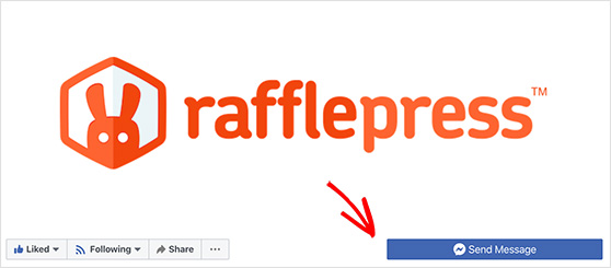 Call to action button on the RafflePress Facebook page