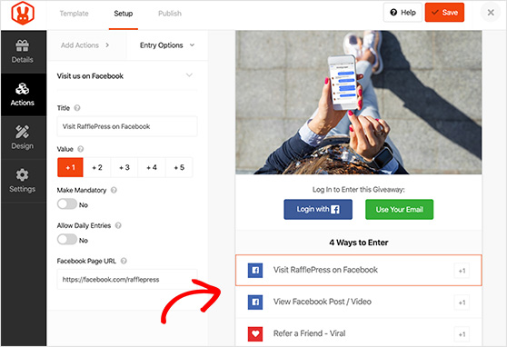 RafflePress actions to grow your Facebook page