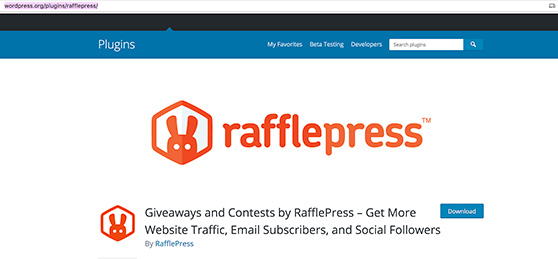 RafflePress in the WordPress plugin respository