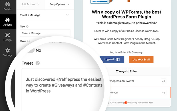 Tweet a message rafflepress giveaway action