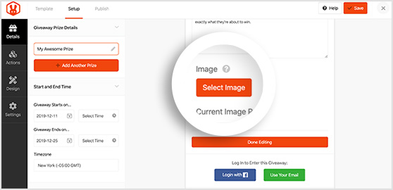 Select an image from your media library or computer