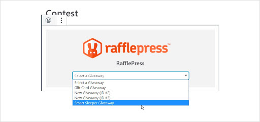 Select your contest from the drop down list