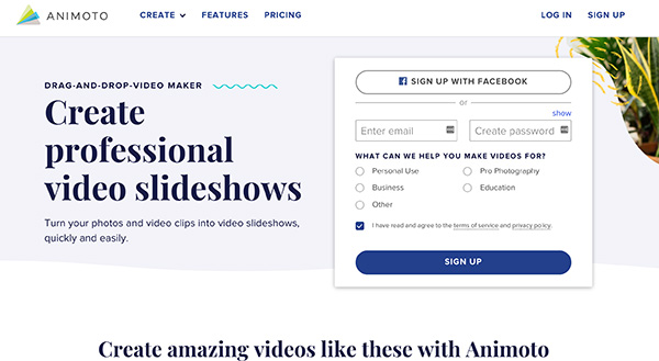 Animoto create professional  video slideshows