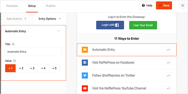 automatic entries action you can use in rafflepress