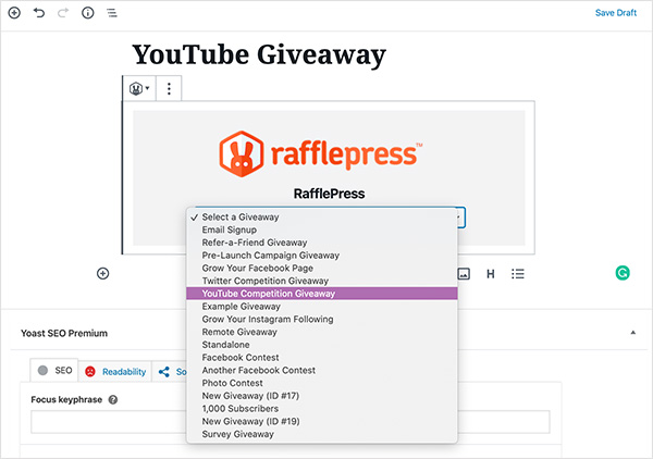 Choose your rafflepress giveaway from the dropdown list