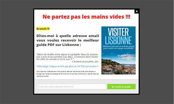 Include exit-intent popups in your lead generation strategy