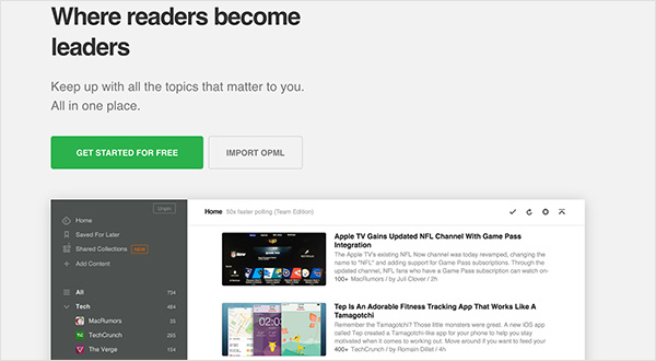 RSS Feed reader Feedly