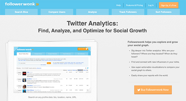 Followerwonk is an analytics tool for Twitter social media marketing