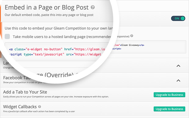 Copy the Gleam embed code to add your giveaway to WordPress