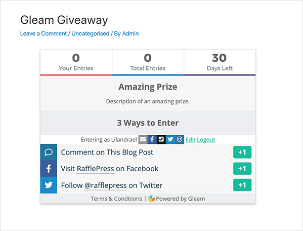 Example of a giveaway using Gleam in WordPress