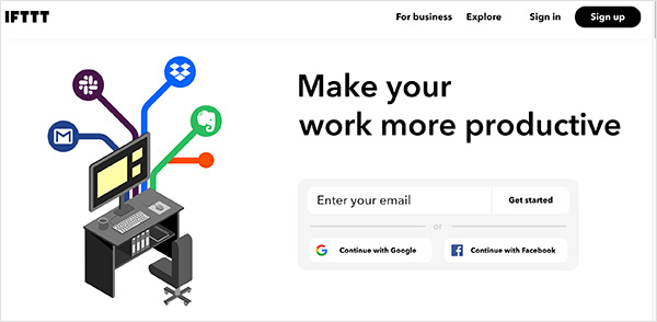 IFTTT social media productivity tool