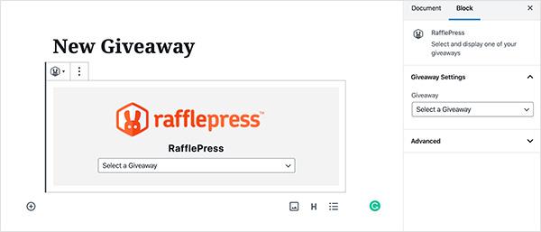 New RafflePress giveaway block in WordPress