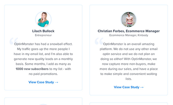 Client testimonials and case studies