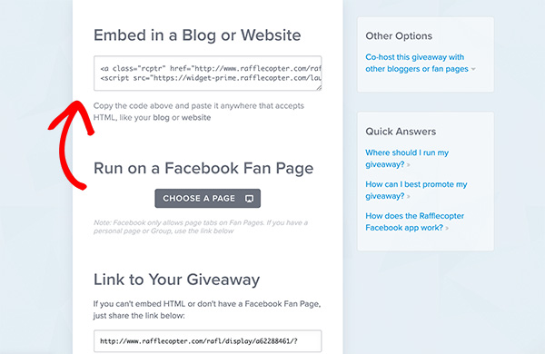 Copy the rafflecopter embed code to add it to wordpress