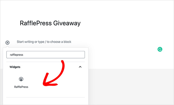 Add a RafflePress widget to WordPress using the content block