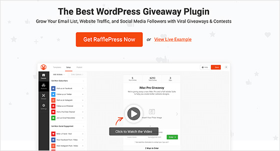 RafflePress the best WordPress giveaway plugin and contest tool