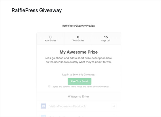 WordPress preview of a RafflePress giveaway widget