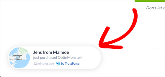 Add a recent sales popup for social proof