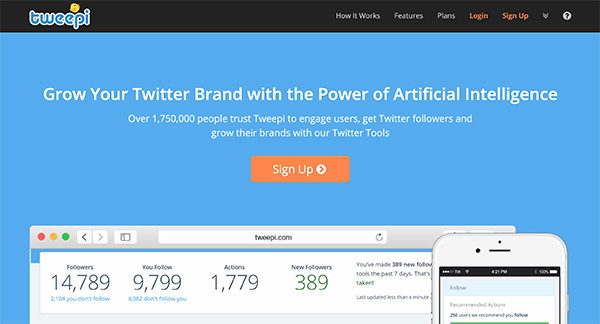 Tweepi social media marketing tool for Twitter