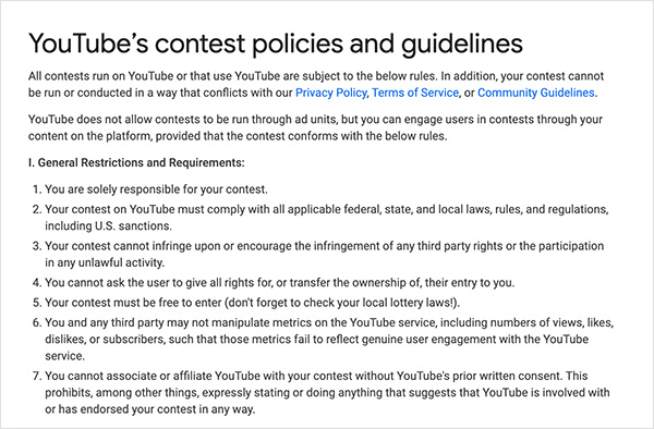 YouTube contest policies