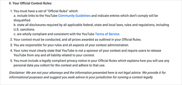 YouTube contest policies and youtube giveaway rules