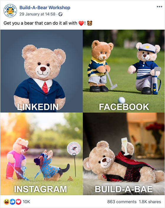 Build a bear workshop use memes to increase engagement on facebook