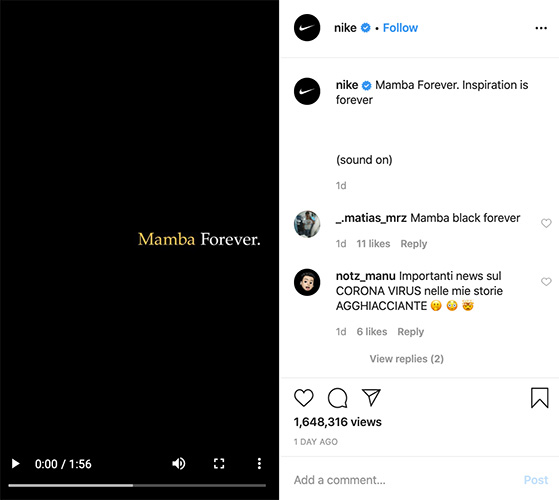 Nike Mamba forever viral video on instagram