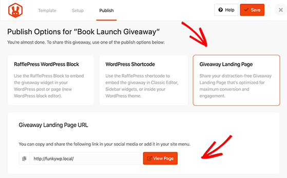 Rafflepress lets you publish your contest on a distraction free giveaway landing page