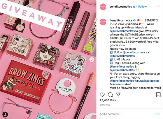 Instagram beauty contest example