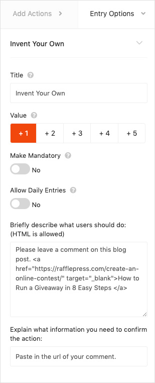 Invent your own entry action for blog comments