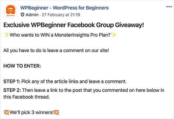 Comment on blog giveaway idea for Facebook