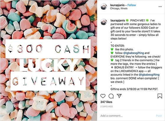 Instagram cash giveaway example