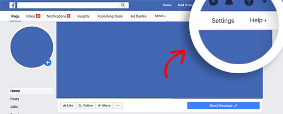 To find Facebook page followers click Settings