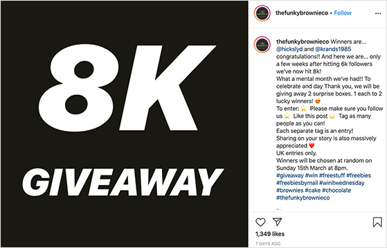 follower milestone instagram giveaway examples
