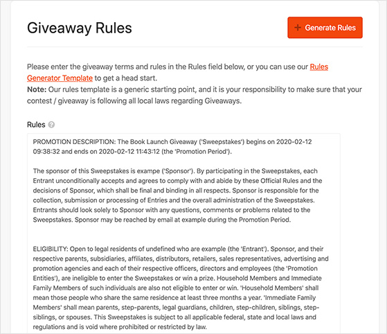 generated contest rules